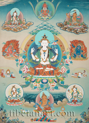 Four-armed Avalokiteshvara with Deities