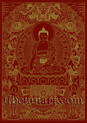 Shakyamuni Buddha [Gold on Red]