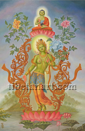 Green Tara with Amoghasiddhi