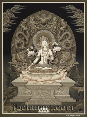 B/W White Tara Enthroned