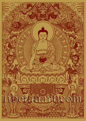 Shakyamuni Buddha [Red on Gold]