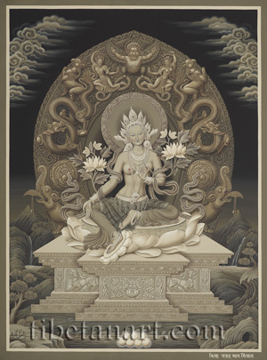 B/W Green Tara Enthroned