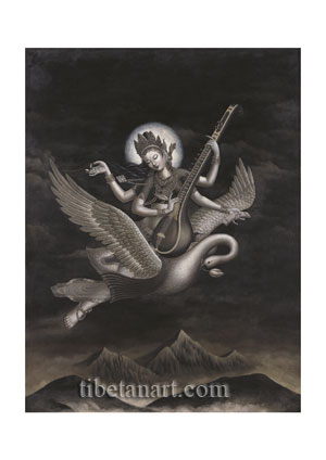 Sarasvati flying on her Swan