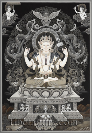 B/W Four-armed Avalokiteshvara