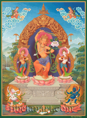 Manjushri With Consorts And Deities
