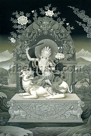 B/W Manjushri, Lion of Speech